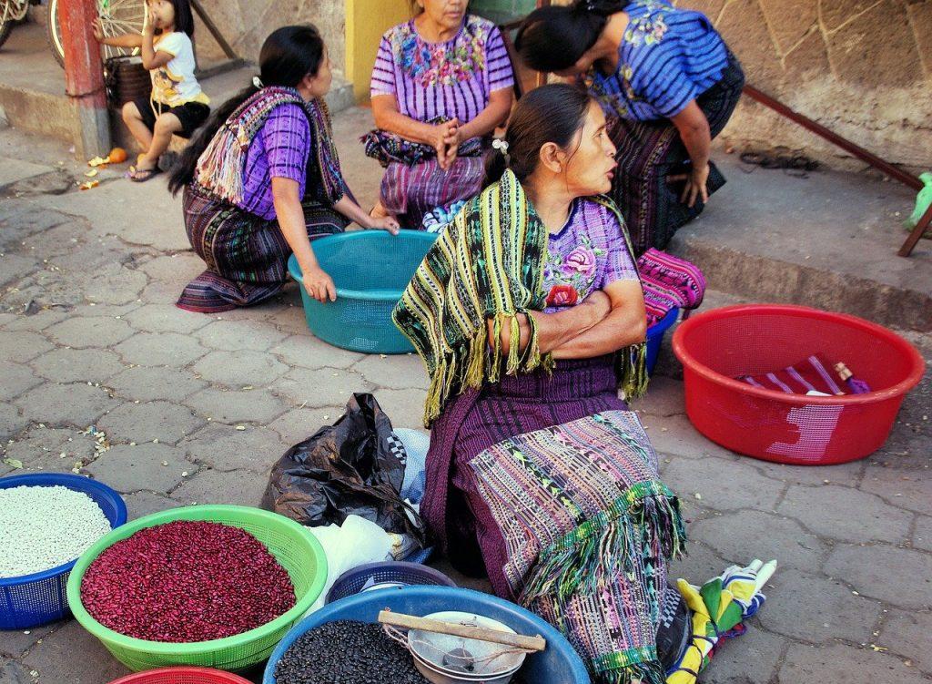 Local vendors at Chichicastenango market in guatemala