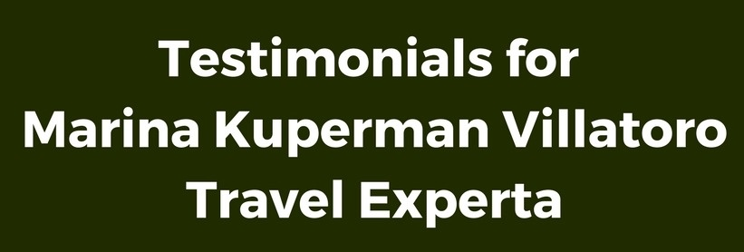 testimonial for travel services for Travel Experta, Marina Villatoro