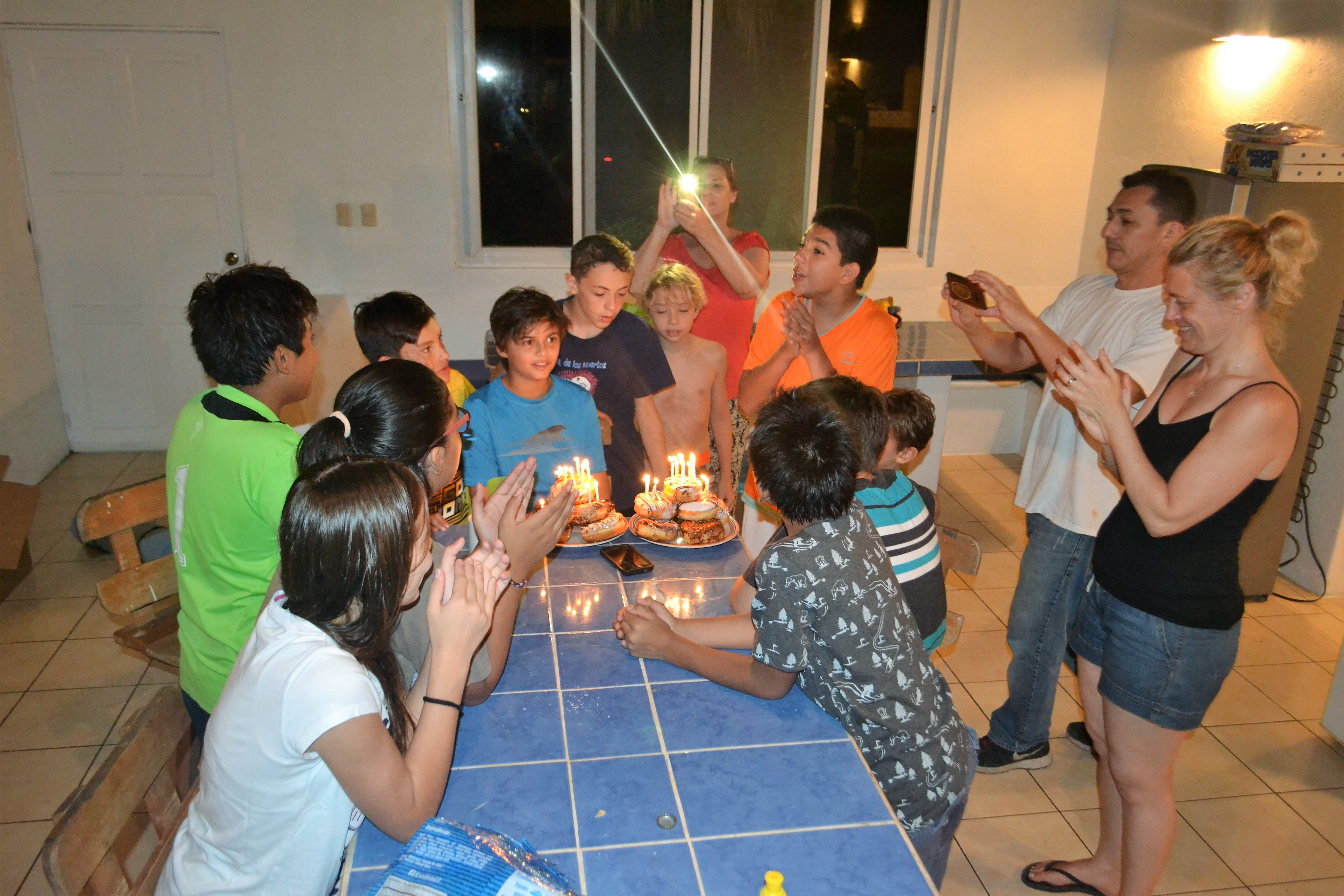 celebrating my son's 13th birthday party at the beach house