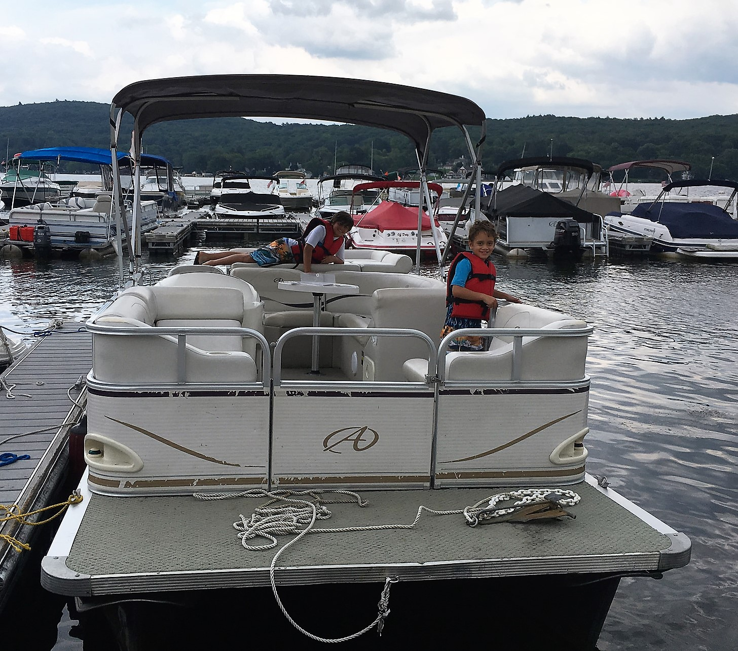 Family Reunion on Greenwood Lake - renting a pontoon