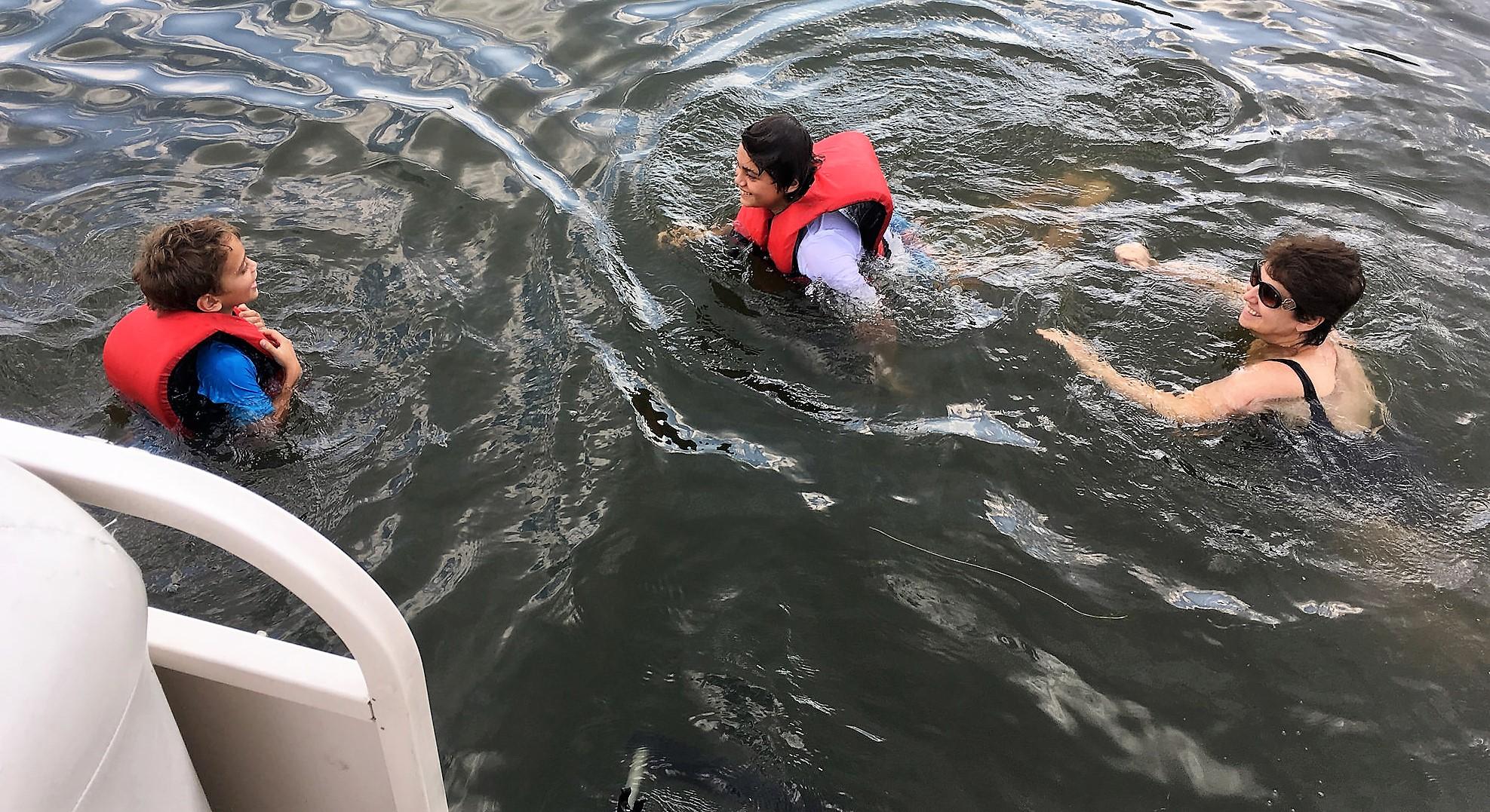 Family Reunion on Greenwood Lake - swimming with grandma