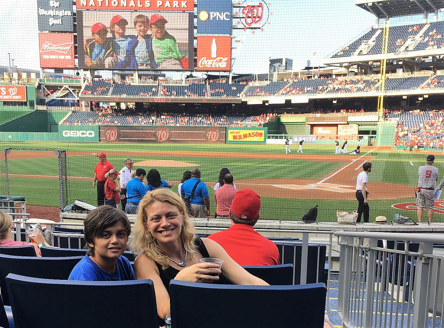 vip seating, homeplate seats, washington nationals stadium, baseball game with kids