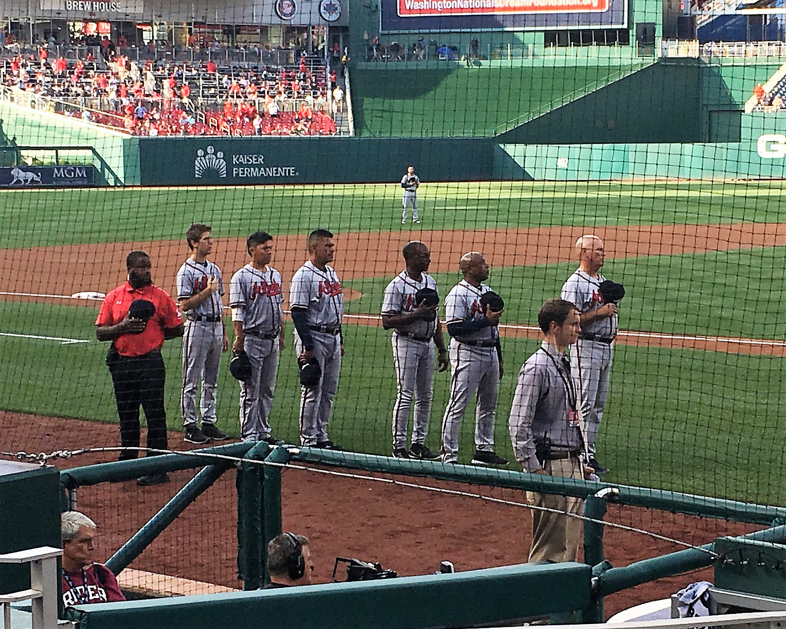 national anthem at baseball game, vip seating, homeplate seats, washington nationals stadium, baseball game with kids