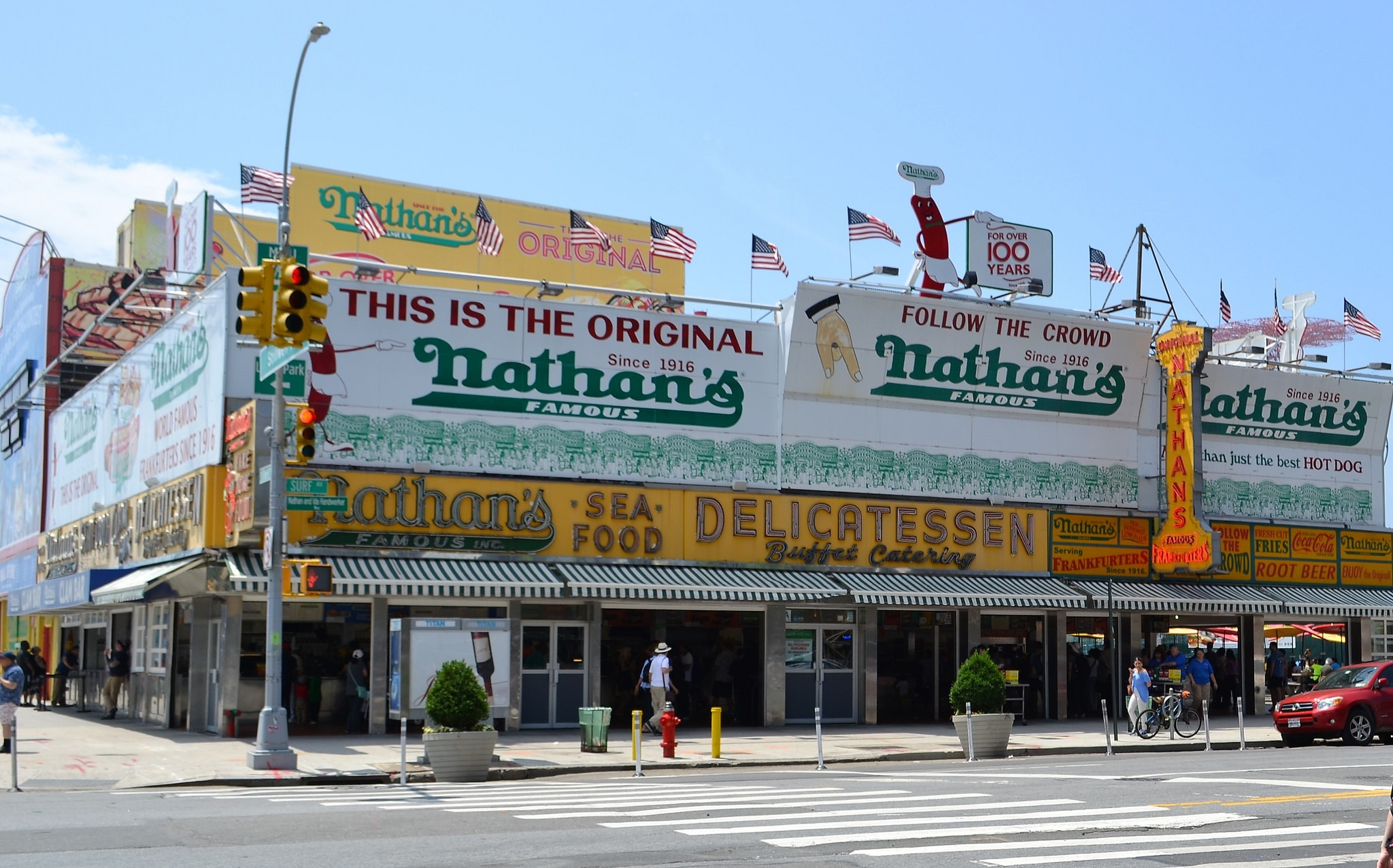 Nathan's Famous Hotdogs, coney island is home to the first hot dog