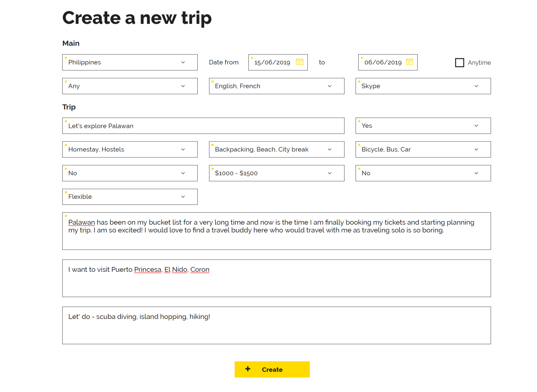 Create a trip on TripGiraffe