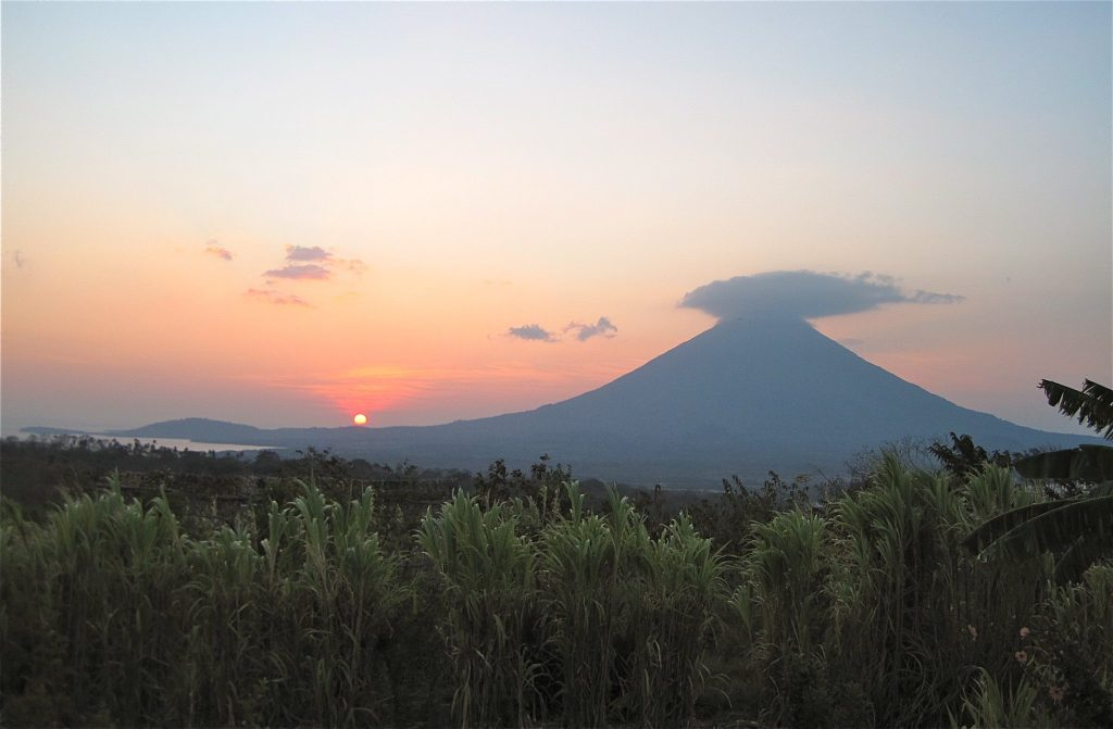 sunset and volcano in nicaragua