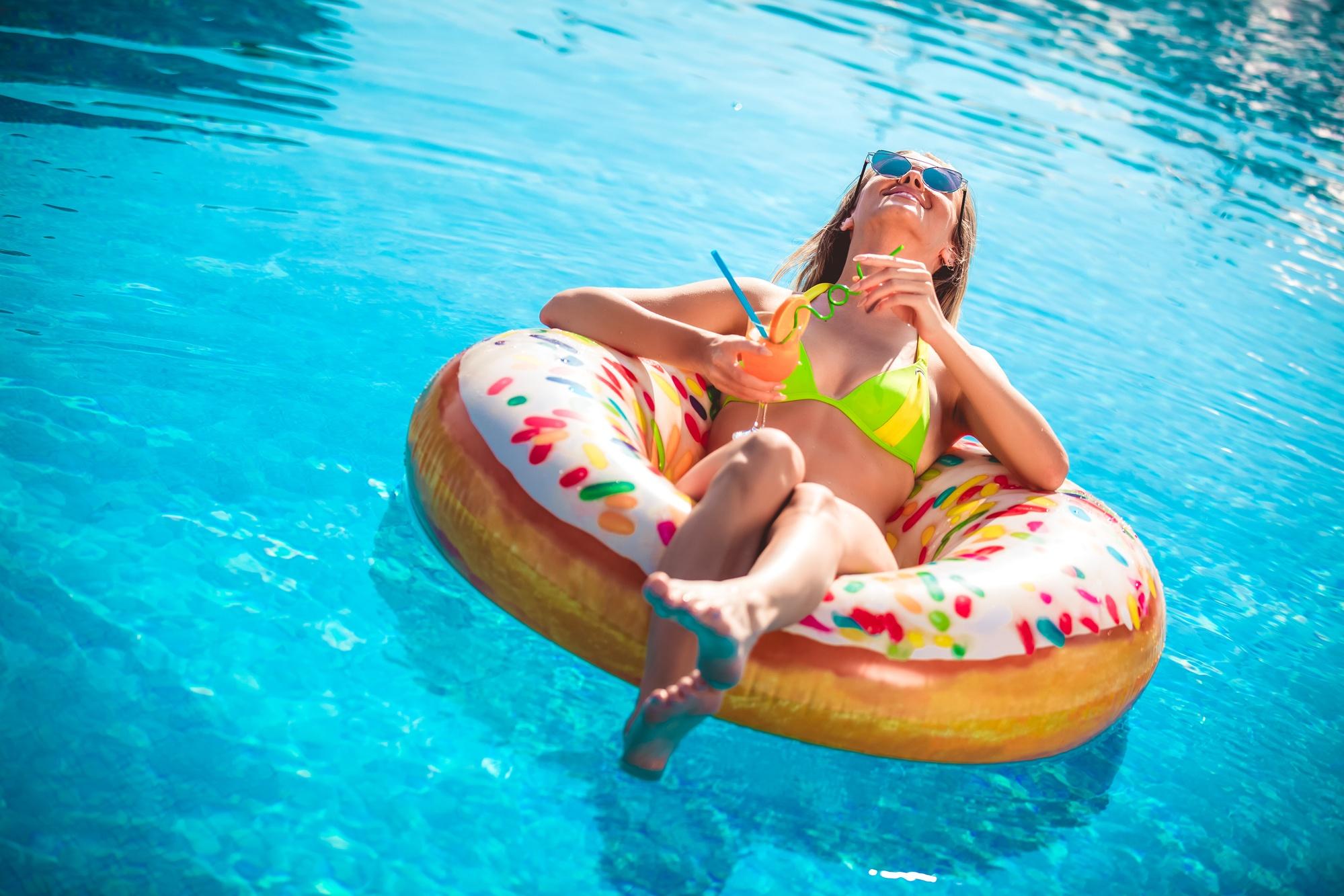 Enjoying suntan Woman in bikini