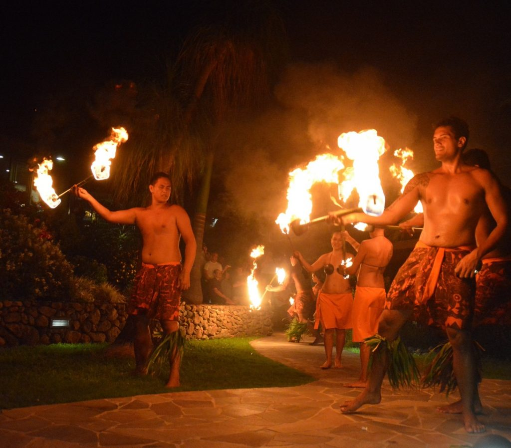 Fire dancers in a Polynesian show on Moorea